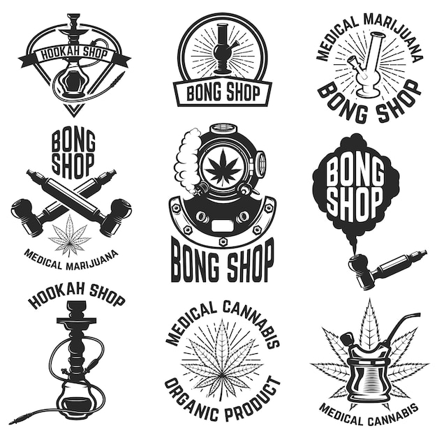 Hookah shop. bong shop. cannabis. images for logo, label, emblem, sign, poster.  illustration. Premium Vector