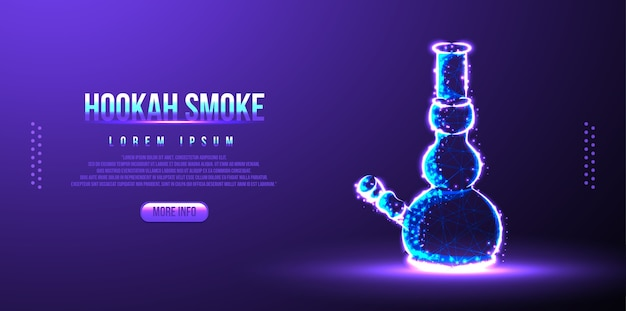 Hookah smoke low poly wireframe mesh Premium Vector