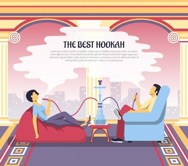 Hookah smoking lounge advertisement illustration Free Vector