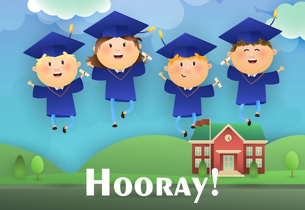 Hooray graduation poster design Free Vector