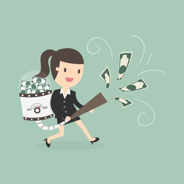 ビジネスの女性はお金をhoovering 無料ベクター