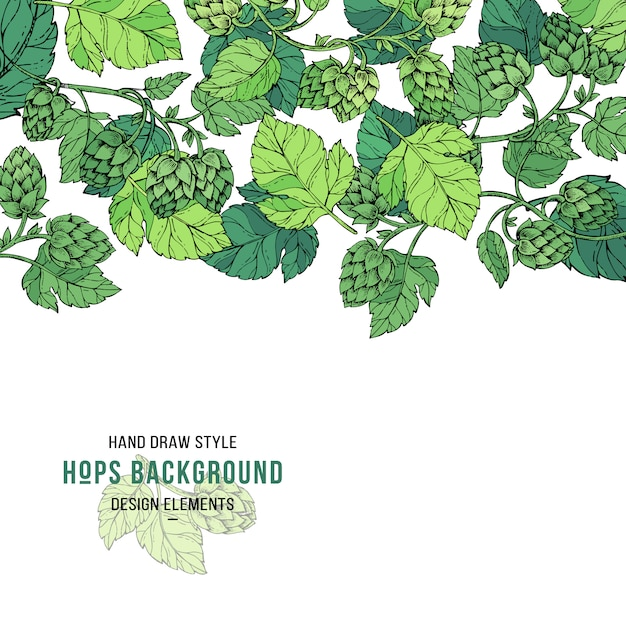 Hop on a branch with leaves in engraving style background Premium Vector