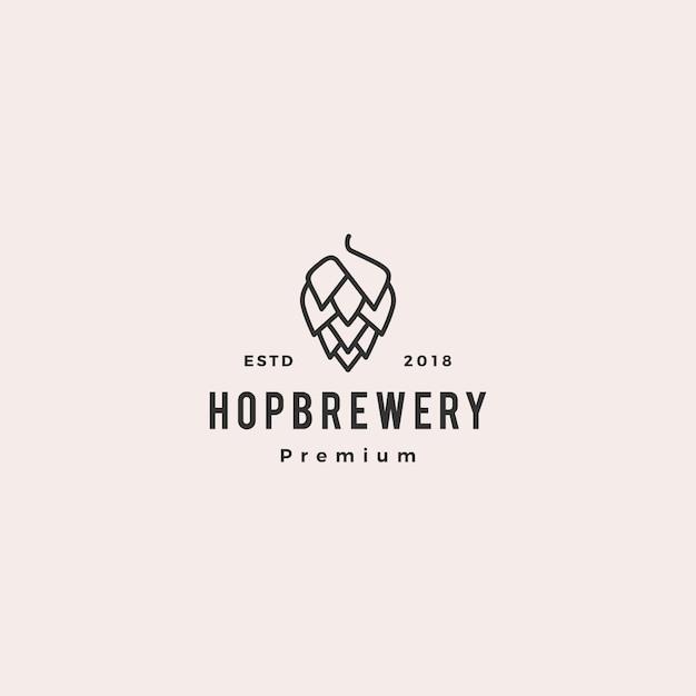 Hop brew brewery logo Premium Vector