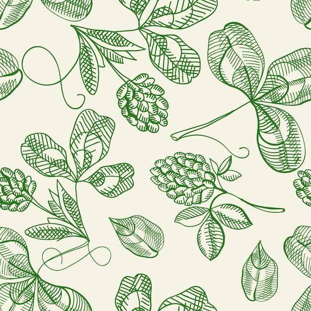 흰 손 그리기에 아름다운 열매를 반복하는 원활한 패턴 낙서 홉 무료 벡터