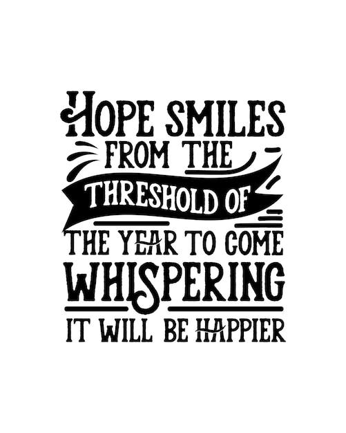 Надежда улыбается в преддверии следующего года, шепча, что будет счастливее. Premium векторы