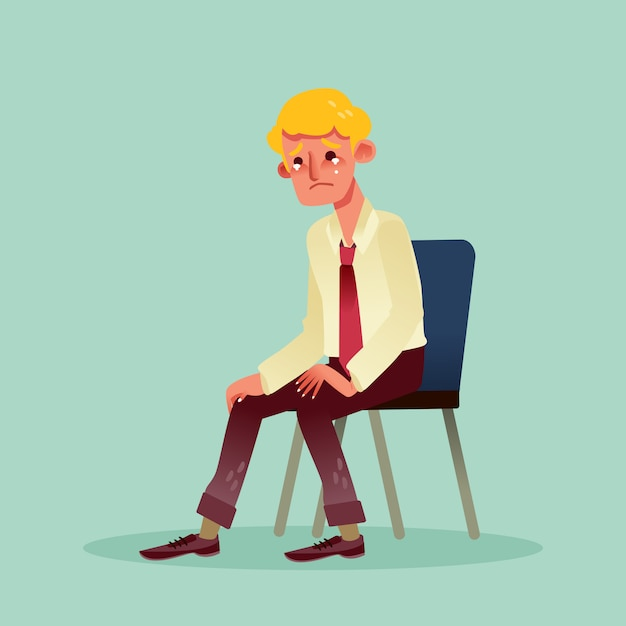 Hopeless business man sitting on a chair and crying cartoon Premium Vector