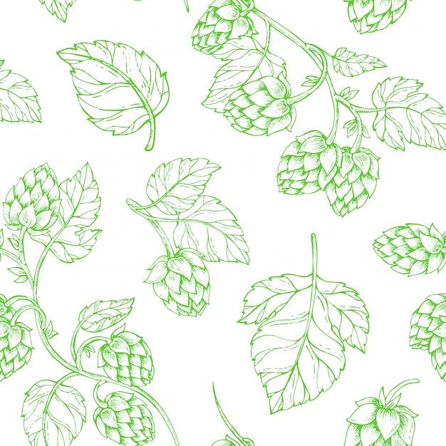 Hops beer seamless pattern Premium Vector