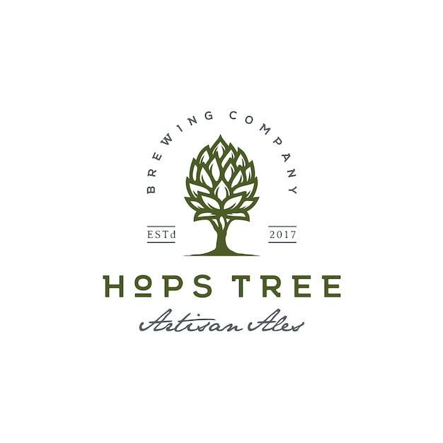 Hops and tree for vintage beer brewery logo Premium Vector