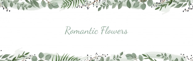 Horisontal botanical banner. Premium Vector