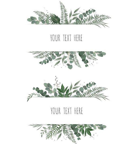Horisontal botanical vector design banner. Premium Vector