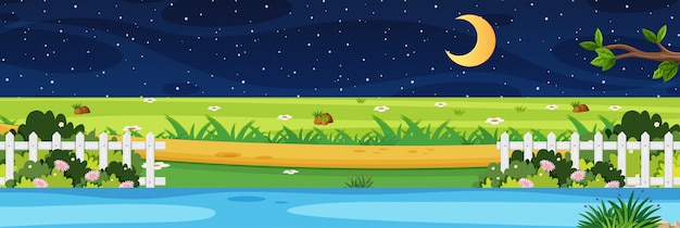 Horizon nature scene or landscape countryside with park riverside view and moon in the sky at night Premium Vector