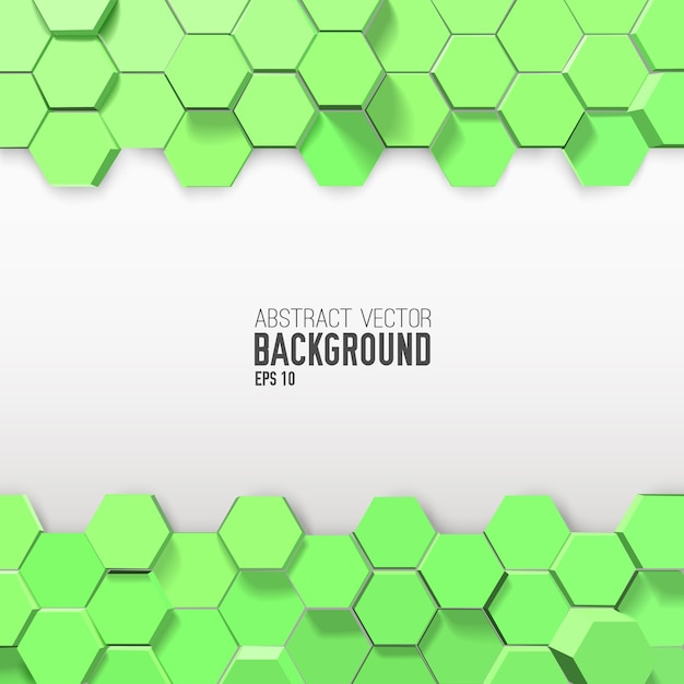 Horizontal abstract compositions with green hexagons Free Vector
