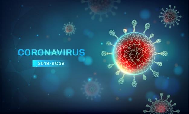 Horizontal abstract covid-19 background. novel coronavirus (2019-ncov) vector illustration in blue tone Free Vector