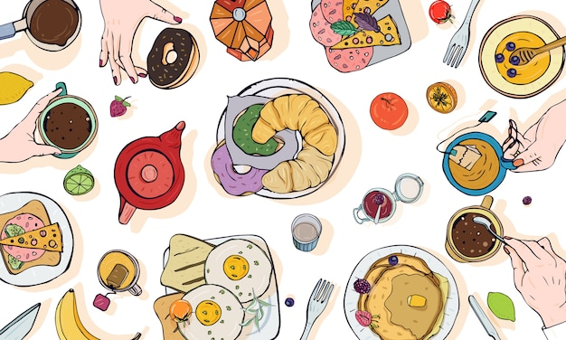 Horizontal advertising illustration on breakfast theme. colorful  hand drawn table with drink, pancakes, sandwiches, eggs, croissants and fruits. top view. Premium Vector