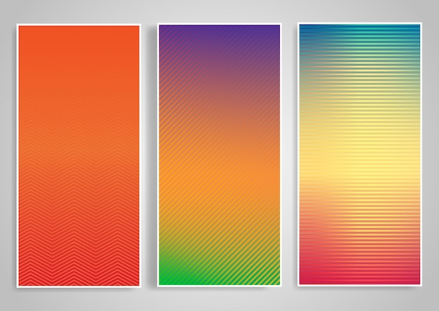Horizontal background set with striped designs Free Vector