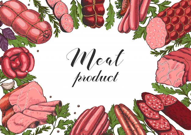 Horizontal background with different color meat products Premium Vector