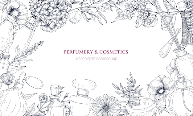 Horizontal background with frame made of perfume and fragrance ingredients in flasks and blooming flowers Premium Vector