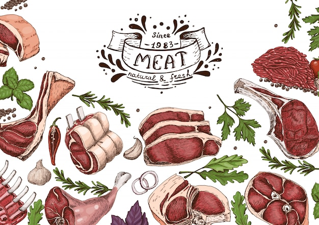 Horizontal background with meats Premium Vector