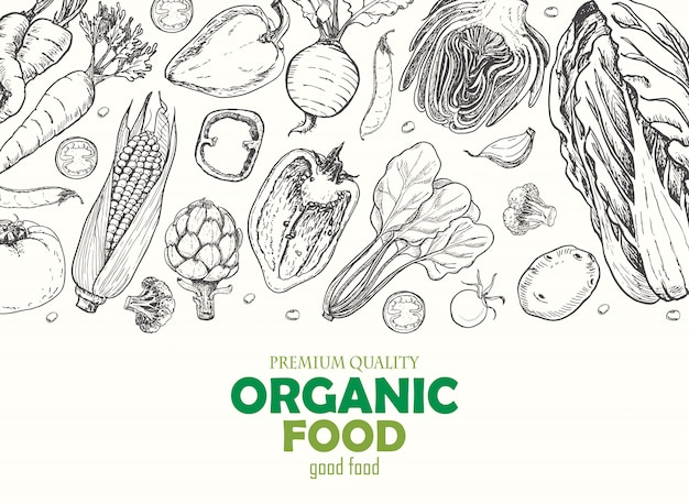 Horizontal background with vegetables Premium Vector