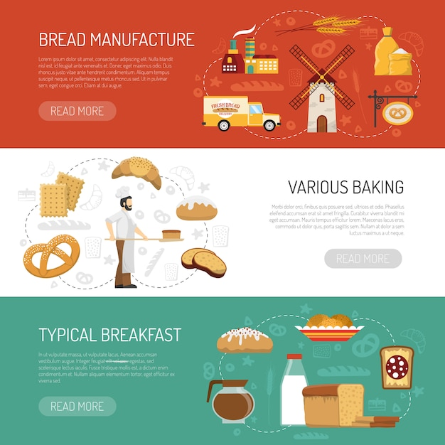 Horizontal bakery banners Free Vector