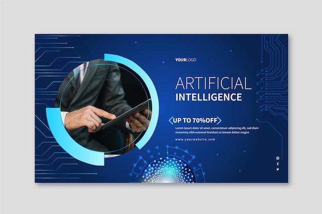 Banner orizzontale per la scienza dell'intelligenza artificiale Vettore gratuito