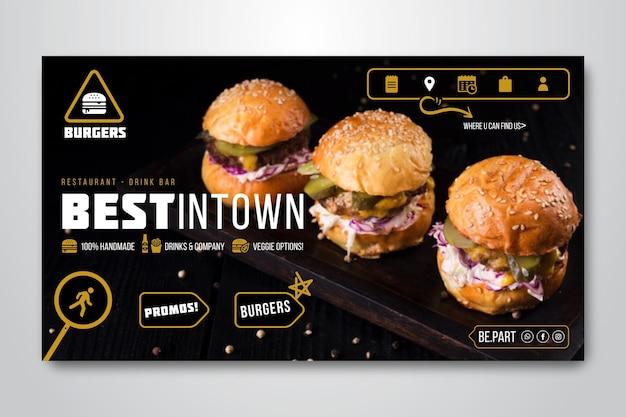 Banner orizzontale per ristorante di hamburger Vettore gratuito