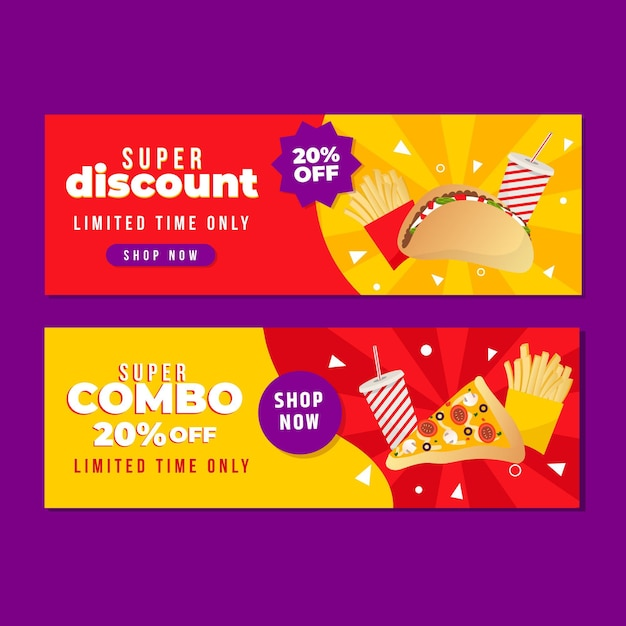 Horizontal banner collection for combo offers Free Vector