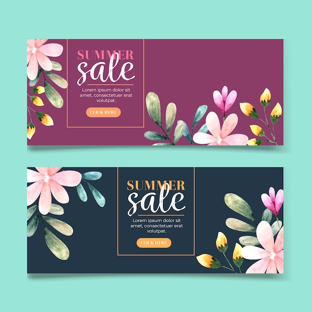Horizontal banner collection for sale with watercolor flowers Premium Vector