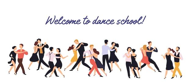 Горизонтальный баннер или фон с парами элегантных мужчин и женщин, танцующих танго на белом фоне. Premium векторы