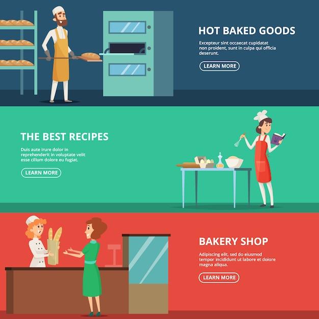 職場でのさまざまなキャラクターパン屋の水平方向のバナーセット Premiumベクター