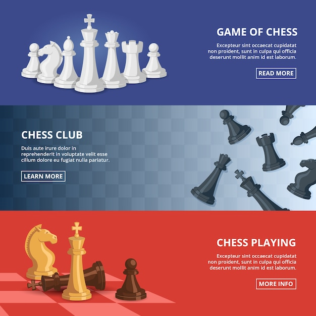 Horizontal banner set with of chess Premium Vector