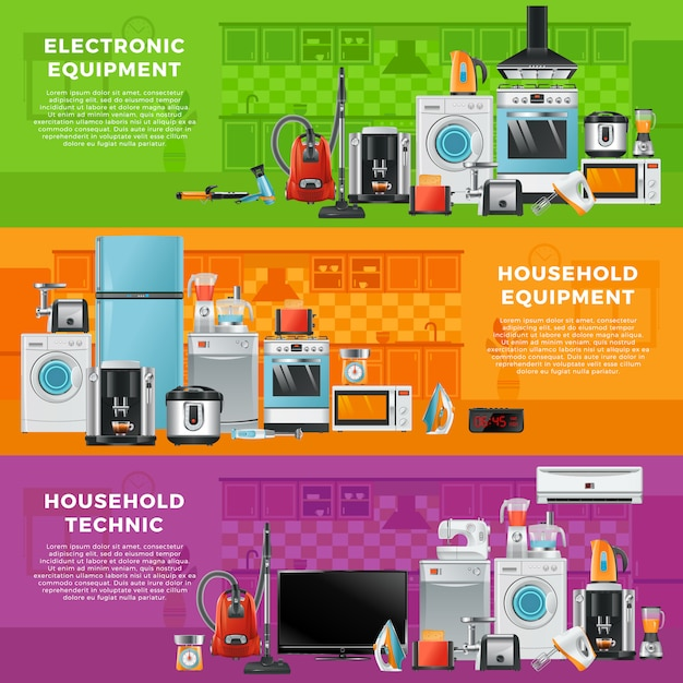 Horizontal banner set with different household technics Premium Vector