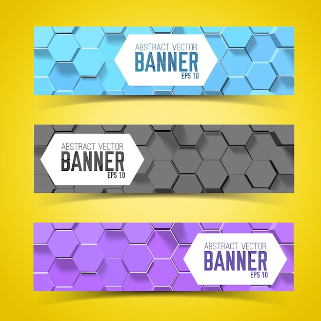 Horizontal banner set with hexagon pattern Free Vector