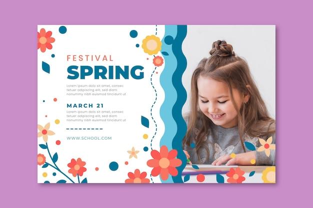 Banner orizzontale per la primavera con i bambini Vettore gratuito