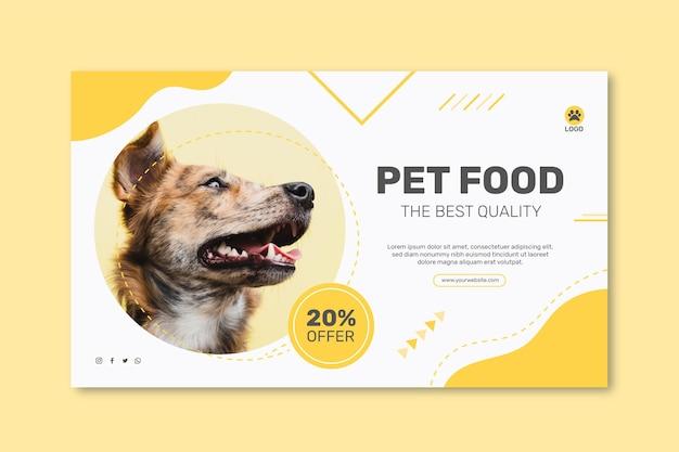 Modello di banner orizzontale per cibo animale con cane Vettore gratuito