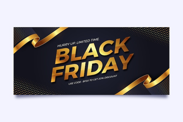 Horizontal banner template for black friday in black and gold Premium Vector