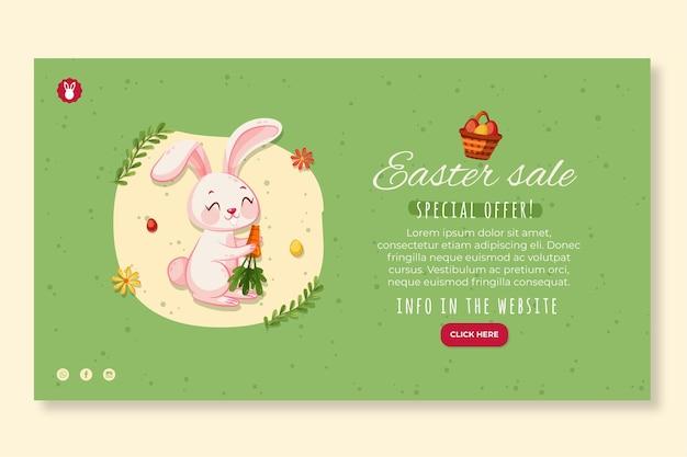 Modello di banner orizzontale per pasqua con coniglietto e carota Vettore gratuito