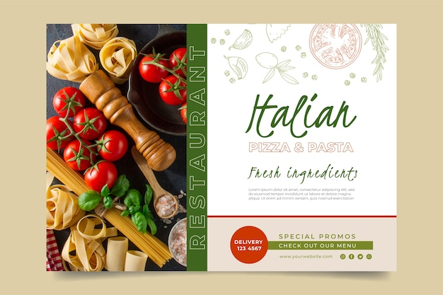 Шаблон горизонтального баннера для ресторана итальянской кухни Бесплатные векторы