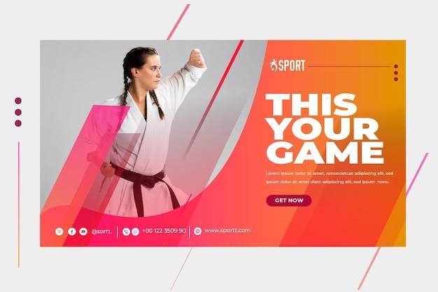 Modello di banner orizzontale per attività sportiva Vettore gratuito