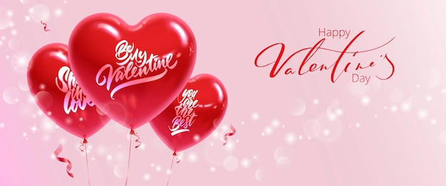 Horizontal banner for valentine's day. realistic heart shaped balloons with inscriptions on a pink background. Premium Vector