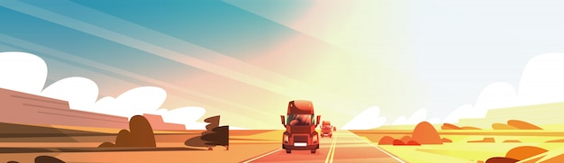 Horizontal banner with big semi truck trailer driving on coutryside road over sunset landscape Premium Vector