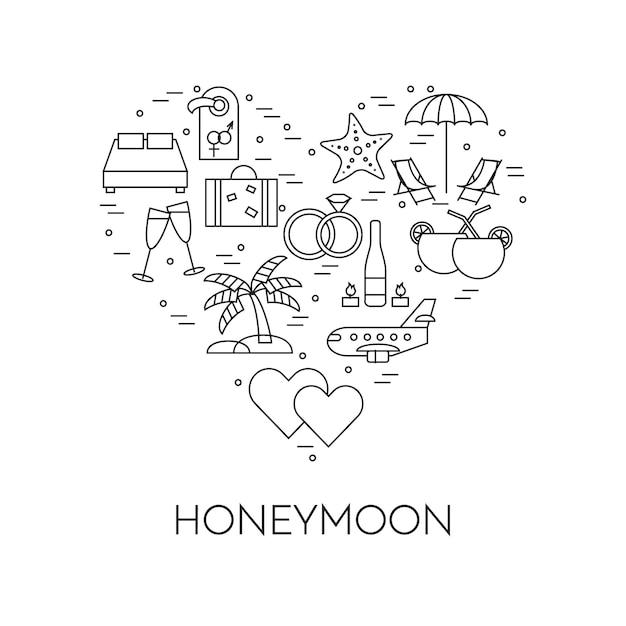 Horizontal banner with honeymoon symbols, wedding trip pictograms in heart. Premium Vector