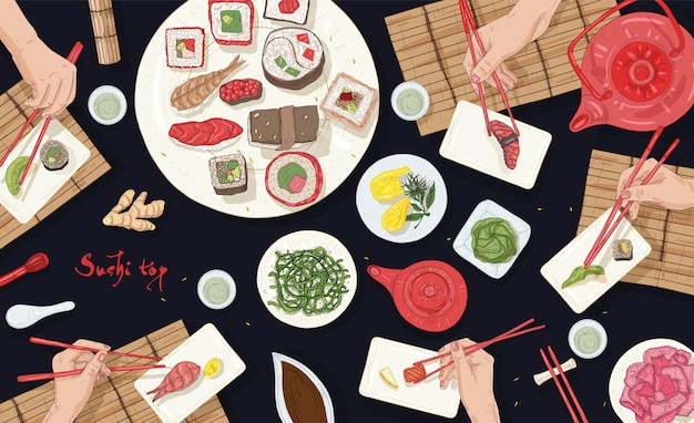 アジア料理店で日本食がいっぱいのテーブルに座って寿司を食べる人々の横のバナー Premiumベクター