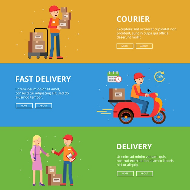 Horizontal banners set. delivery service people Premium Vector