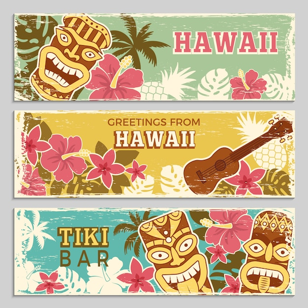 Horizontal banners set of hawaiian tribal gods and other different symbols Premium Vector
