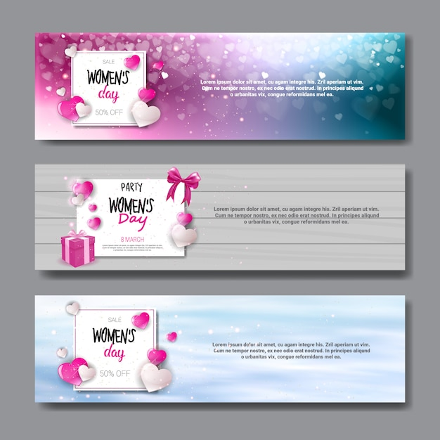 Horizontal banners set for international women day holiday sale posters and party invitation design 8 march concept Premium Vector