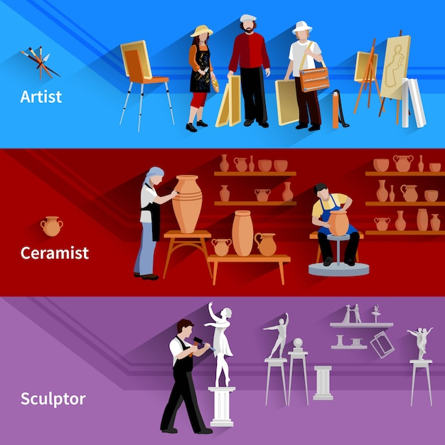 Horizontal banners set of scenes with artist ceramist and sculptor at work Free Vector