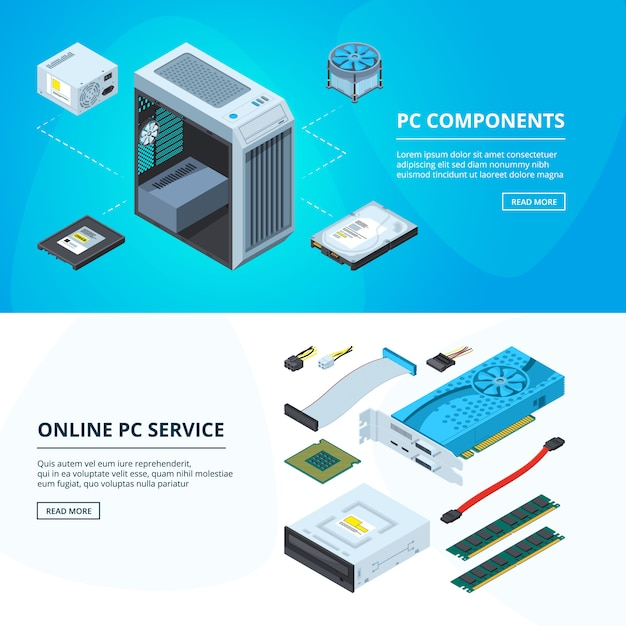 Horizontal banners set with different parts of personal computer Premium Vector