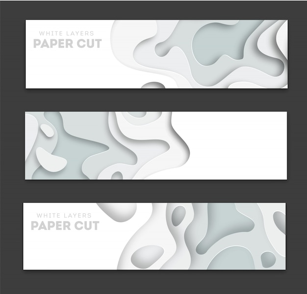 Horizontal banners with 3d abstract background Premium Vector