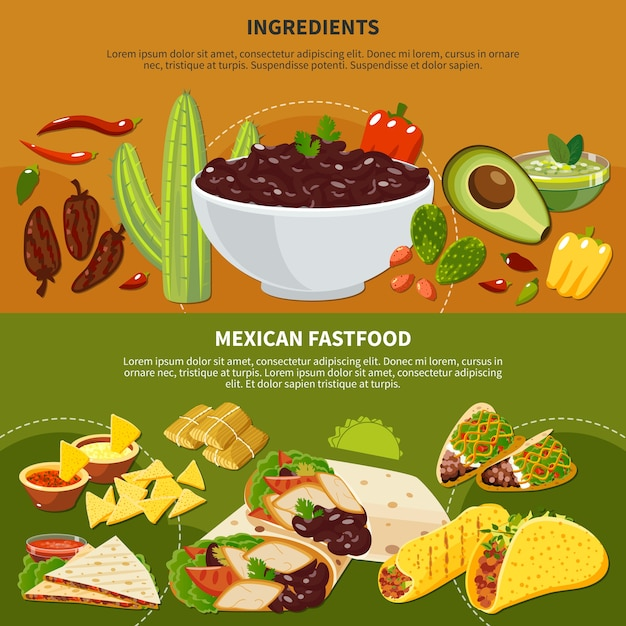 Bandiere orizzontali con ingredienti di piatti messicani e fastfood su terracotta e sfondo verde isolato Vettore gratuito